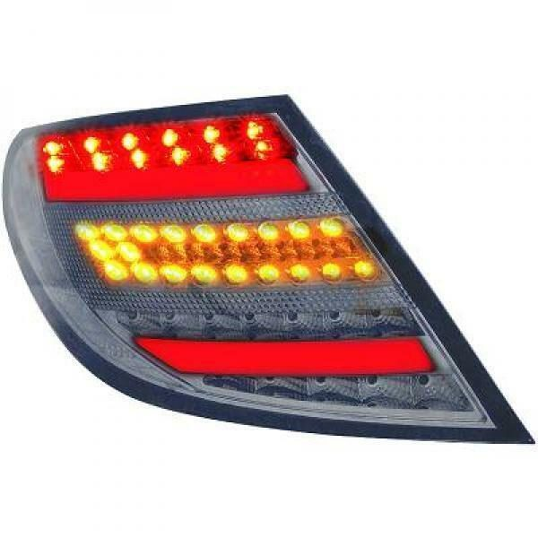 Back Rear Tail Lights Pair Set LED Clear Smoke For Mercedes W204 Saloon 07-11