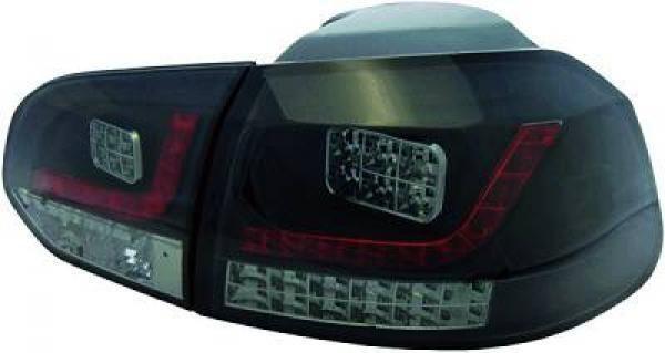 Back Rear Tail Lights Pair Set LED Clear Smoke Black For VW Golf VI 08-12