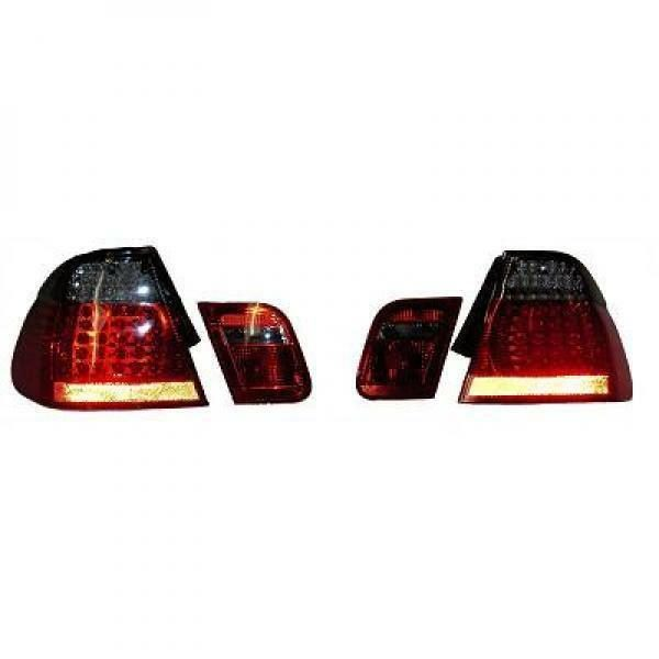Back Rear Tail Lights Pair Set LED Clear Red Black For BMW E46 Saloon 01-05