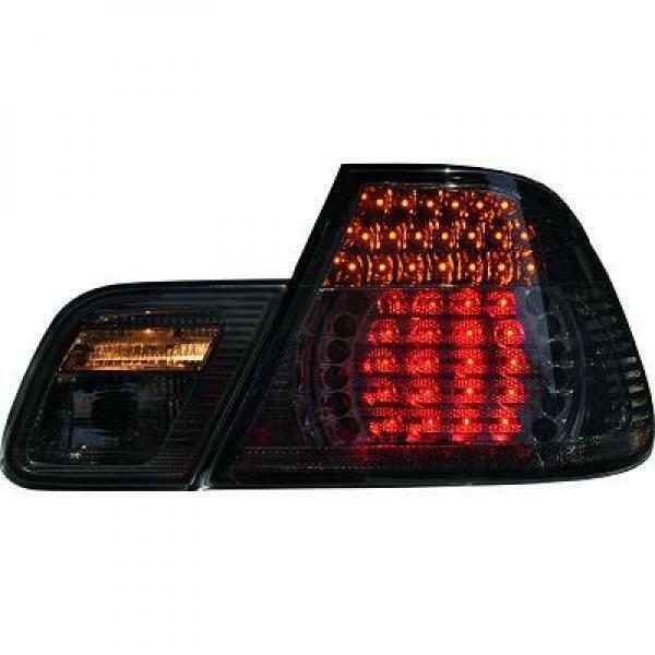 Back Rear Tail Lights Pair Set LED Clear Black For BMW E46 Cabrio 99-03