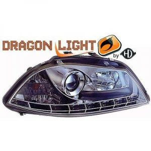 LHD Projector Headlights Pair LED Dragon Clear Chrome For Seat Ibiza 02-08