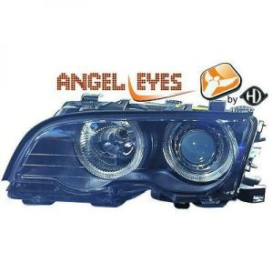 RHD LHD Projector Headlights Pair Angel Eyes Black For BMW 3 Series E46 2dr