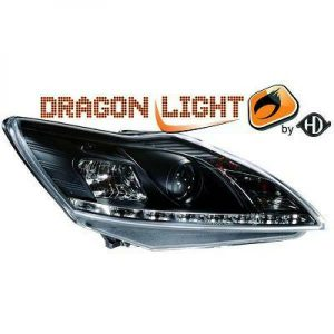 LHD Projector Headlights Pair LED Dragon Clear Black For Ford Focus III 0