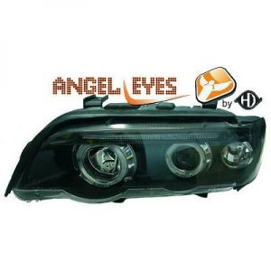 LHD Projector Headlights Pair Angel Eyes Clear Black H1 H1 For BMW X5 E53 99-03