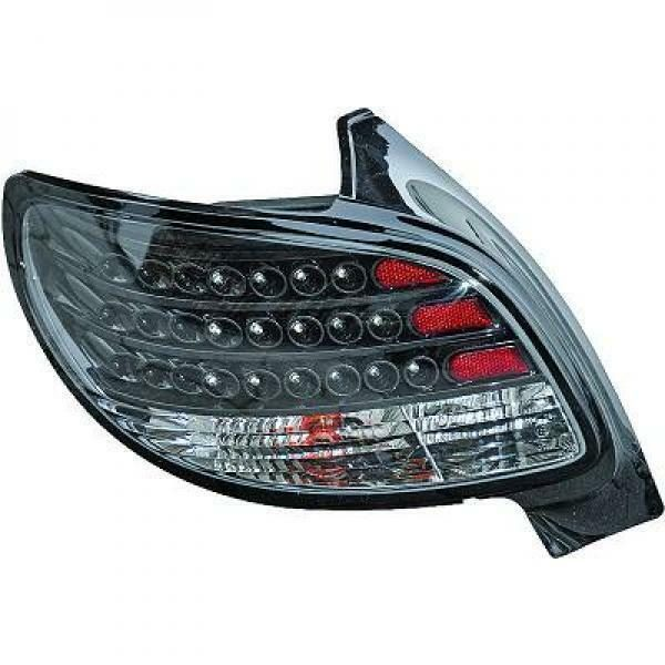 Back Rear Tail Lights Pair Set LED Black For Peugeot 206 98-08