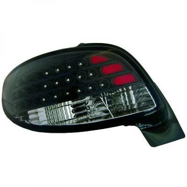Back Rear Tail Lights Pair Set LED Black For Peugeot 206 CC 98-08