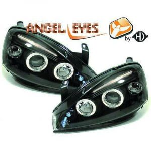 LHD Projector Headlights Pair Angel Eyes Clear Black H1 H1 For Vauxhall Corsa C