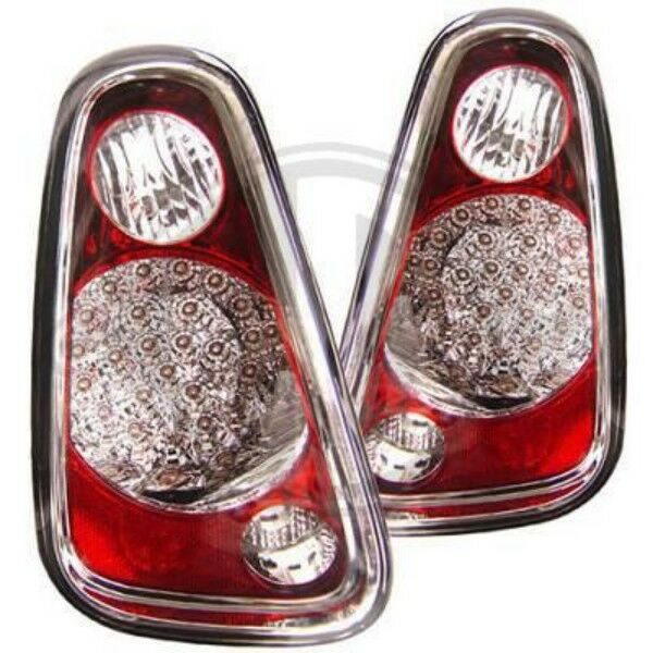Back Rear Tail Lights Pair Set LED Clear Red Chrome For Mini R50 52 53 01-06