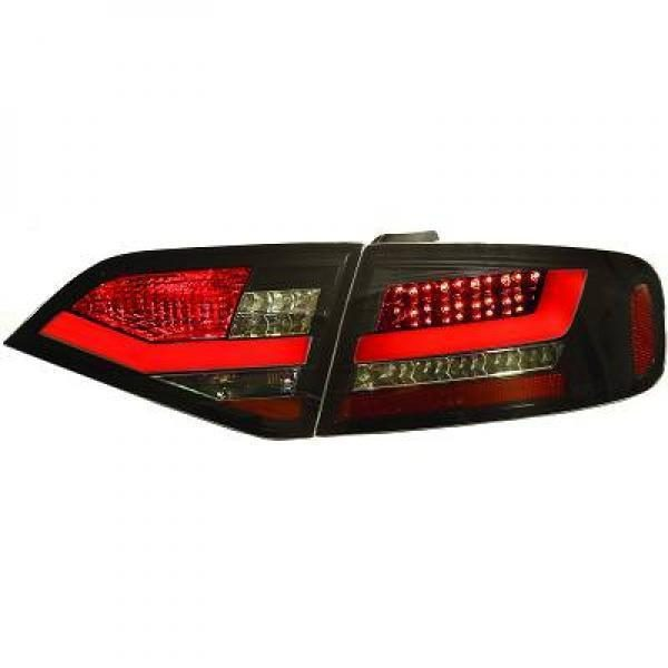 Back Rear Tail Lights Pair Set Clear Smoke Black For Audi A4 Saloon Avant 07-11