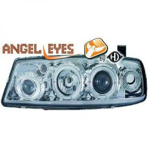 LHD Projector Headlights Pair Angel Eyes Clear Chrome H1 For Vauxhall Calibra