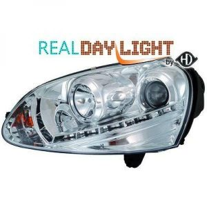 LHD Projector LED DRL Headlights Pair Clear Chrome H7 H1 For VW Golf V 03-08