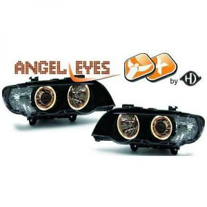RHD LHD Xenon Headlight Pair Angel Eyes Clear Black D2S H7 For BMW X5 E53 99-03