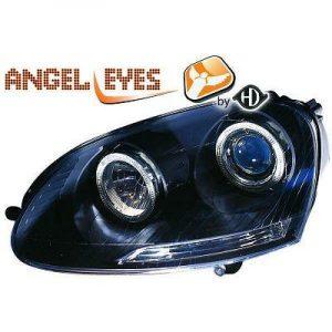 RHD LHD Projector Headlights Pair Angel Eyes Clear Black H7 H7 For VW Golf V