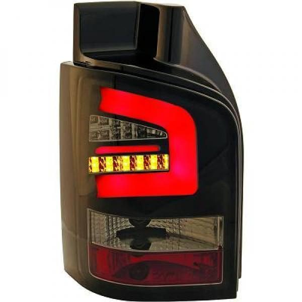 Back Rear Tail Lights Pair Set LED Clear Smoke Black For VW T5 03-10