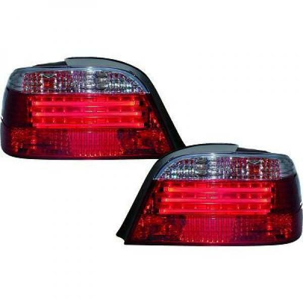 Back Rear Tail Lights Pair Set LED Strip Clear Red White For BMW E38 94-98