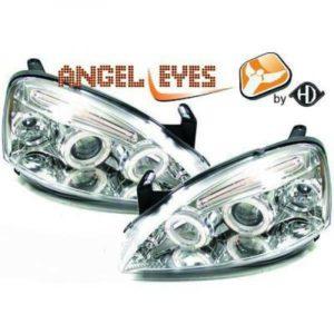 LHD Projector Headlights Pair Angel Eyes Clear Chrome For Vauxhall Corsa C 00-06
