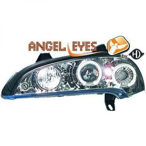 LHD Projector Headlights Pair Angel Eyes Clear Chrome H1 H1 For Vauxhall Tigra