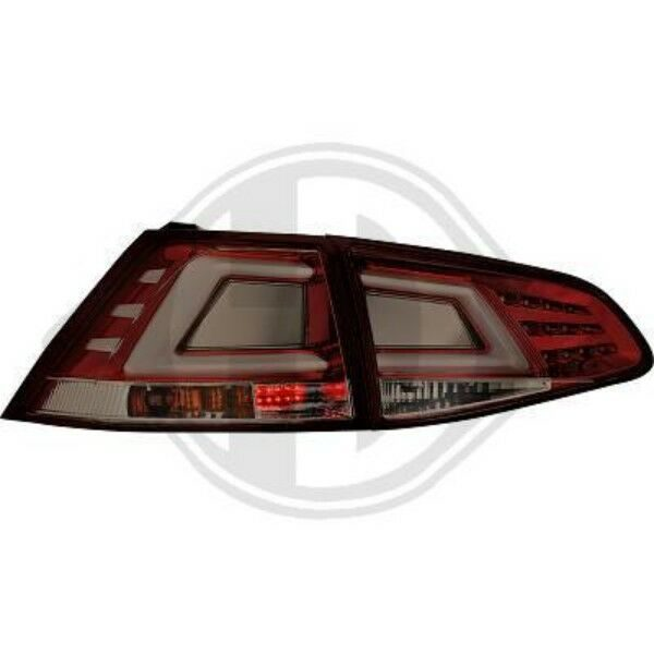 Back Rear Tail Lights Pair Set LED Clear Smoke Red For VW Golf VII 12-On