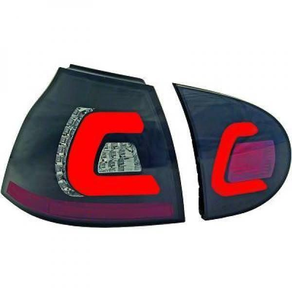 Back Rear Tail Lights Pair Set Clear Smoke Black For VW Golf V Saloon 03-08