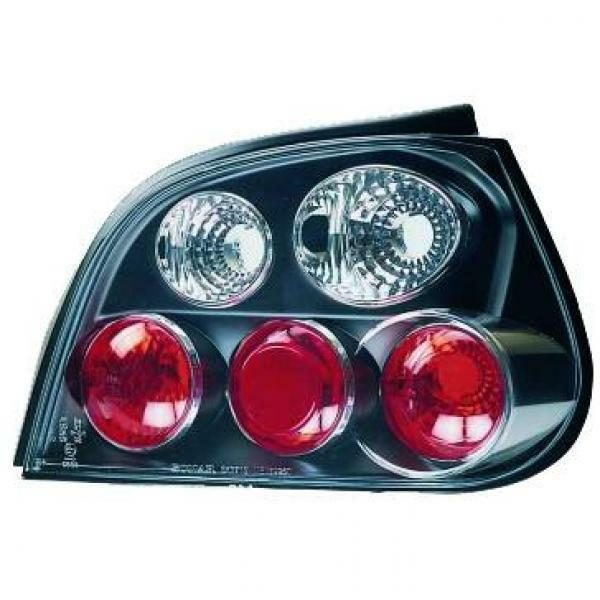 Back Rear Tail Lights Pair Set Clear Black For Renault Megane Saloon 99-02