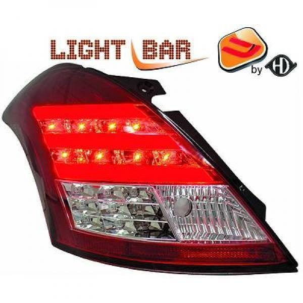 Back Rear Tail Lights Pair Set Clear Red Chrome For Suzuki Swift 10-13