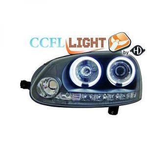 LHD Right Left CCFL Projector Headlights Pair Clear Black For VW Golf V 03-08