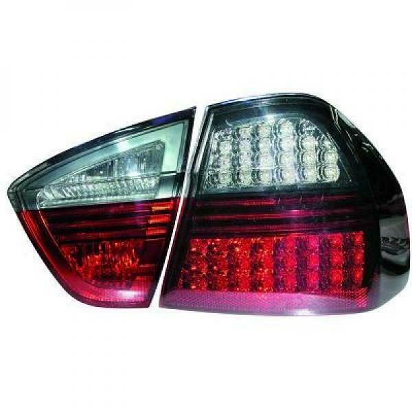Back Rear Tail Lights Pair Set LED Clear Red Black For BMW E90 05-08