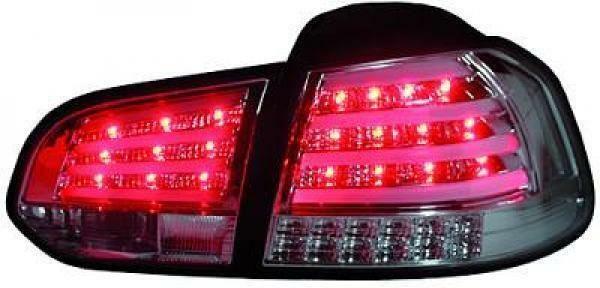 Back Rear Tail Lights Pair Set LED Clear Chrome For VW Golf VI Saloon 08-12