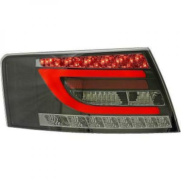 Back Rear Tail Lights Pair Set Clear Smoke Black For Audi A6 04-08