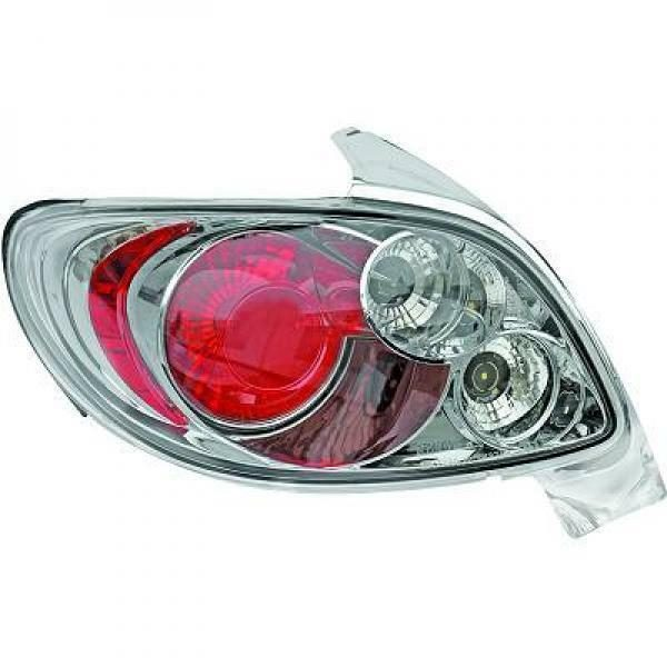 Back Rear Tail Lights Pair Set Clear Chrome For Peugeot 206 206CC 98-08