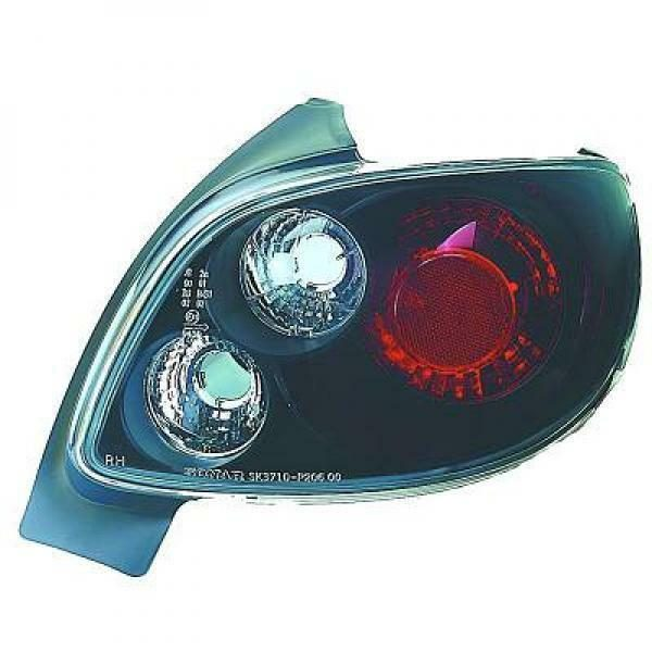 Back Rear Tail Lights Pair Set Clear Black For Peugeot 206 206CC 98-On