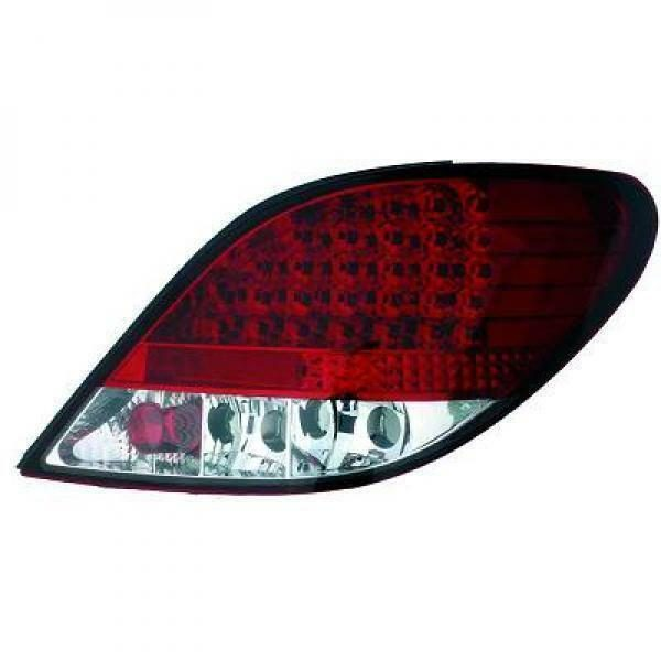 Back Rear Tail Lights Pair Set LED Clear Red White For Peugeot 207 06-12