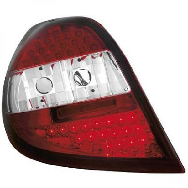 Back Rear Tail Lights Pair Set LED Clear Red White For Renault Clio 05-09