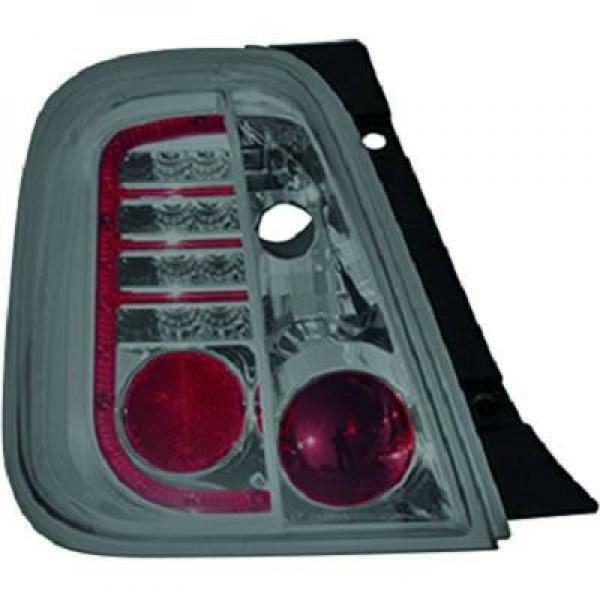 Back Rear Tail Lights Pair Set LED Clear Smoke For Fiat 500 Saloon 07-On