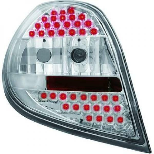 Back Rear Tail Lights Pair Set LED Clear Chrome For Renault Clio 05-09