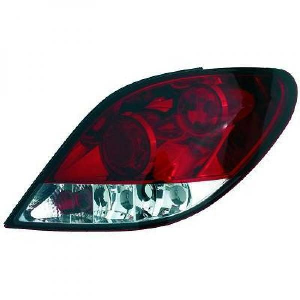 Back Rear Tail Lights Pair Set Clear Red-White For Peugeot 207 06-12