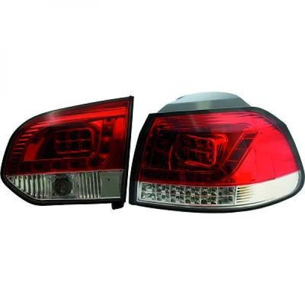 Back Rear Tail Lights Pair Set LED Clear Red White For VW Golf MK6 08-12