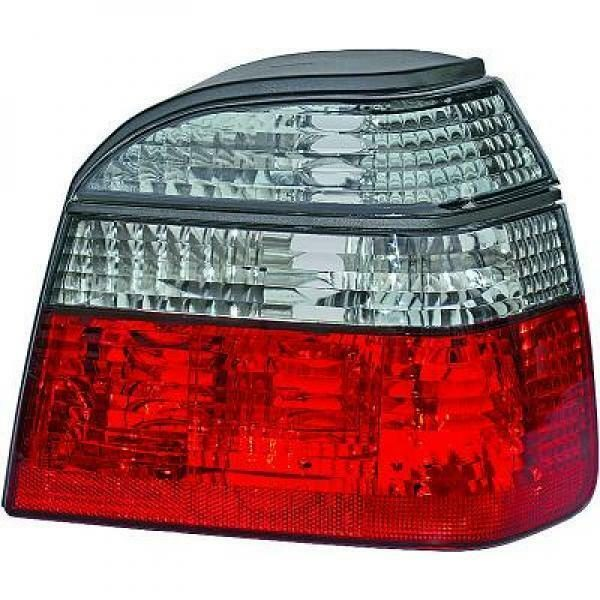Back Rear Tail Lights Pair Set Crystal Red Black For VW Golf III 91-97