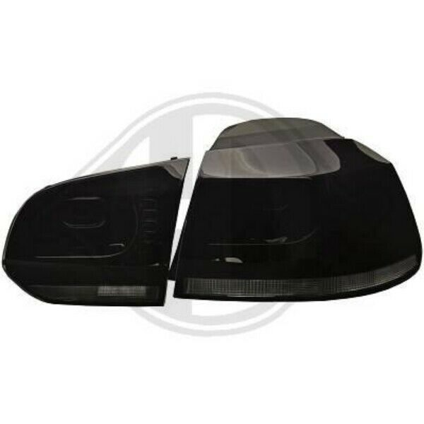 Back Rear Tail Lights Pair Set Black For VW Golf VI Hatchback 08-12