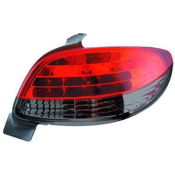 Back Rear Tail Lights Pair Set LED Clear Red Black For Peugeot 206 CC 98-08
