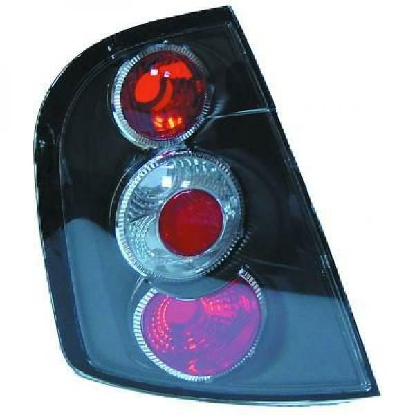Back Rear Tail Lights Pair Set Clear Black For Skoda Fabia Estate 99-07