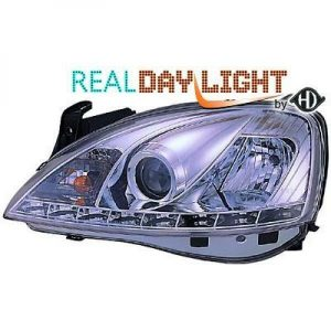LHD Projector LED DRL Headlights Pair Clear Chrome For Vauxhall Corsa C 00-06