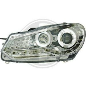 LHD Projector LED DRL Headlights Pair Clear Chrome For VW Golf VI Hatch 08-12