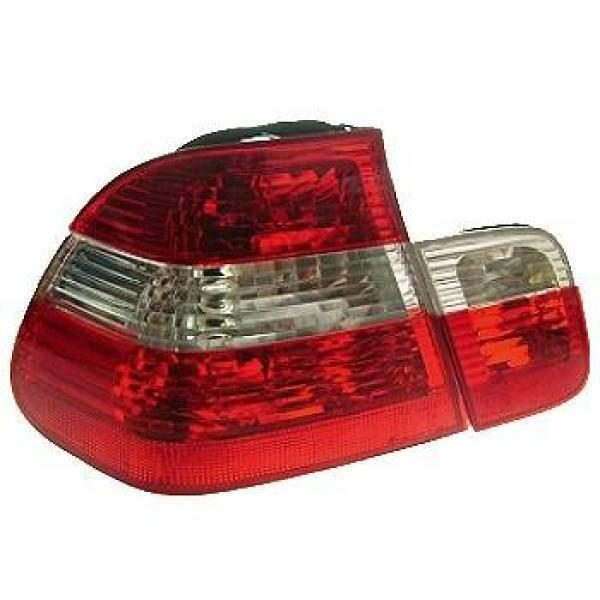 Back Rear Tail Lights Pair Set Clear Red White For BMW E46 Saloon 01-05