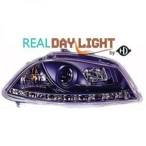 LHD Projector LED DRL Headlights Headlamp Pair Clear Black For Seat Ibiza 02-08