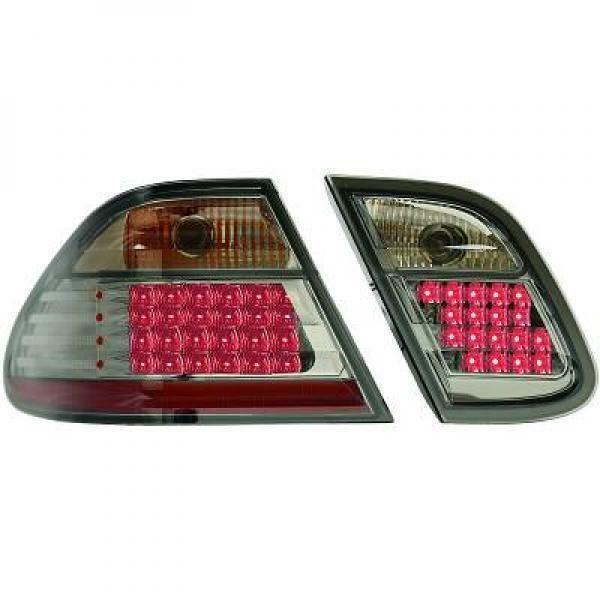 Back Rear Tail Lights Pair Set LED Clear Black For Mercedes CLK C208 97-02