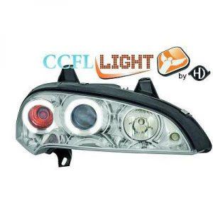 LHD OS NS CCFL Projector Headlights Pair Clear Chrome For Vauxhall Tigra 94-00