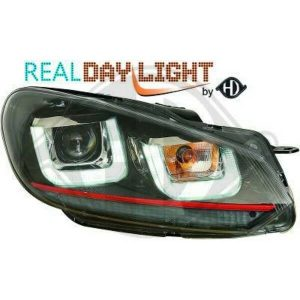 LHD Projector LED DRL Headlights Pair Clear Black Red Strip For VW Golf VI 08-12