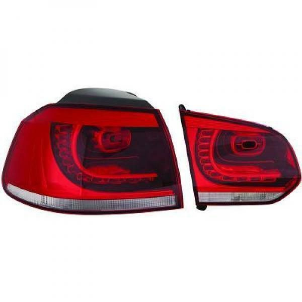 Back Rear Tail Lights Pair Set LED Clear Red White For VW Golf VI 08-12