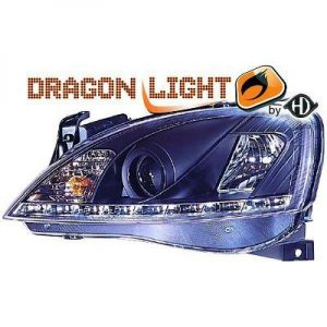 LHD Projector Headlights Pair LED Dragon Clear Black For Vauxhall Corsa C 00-03